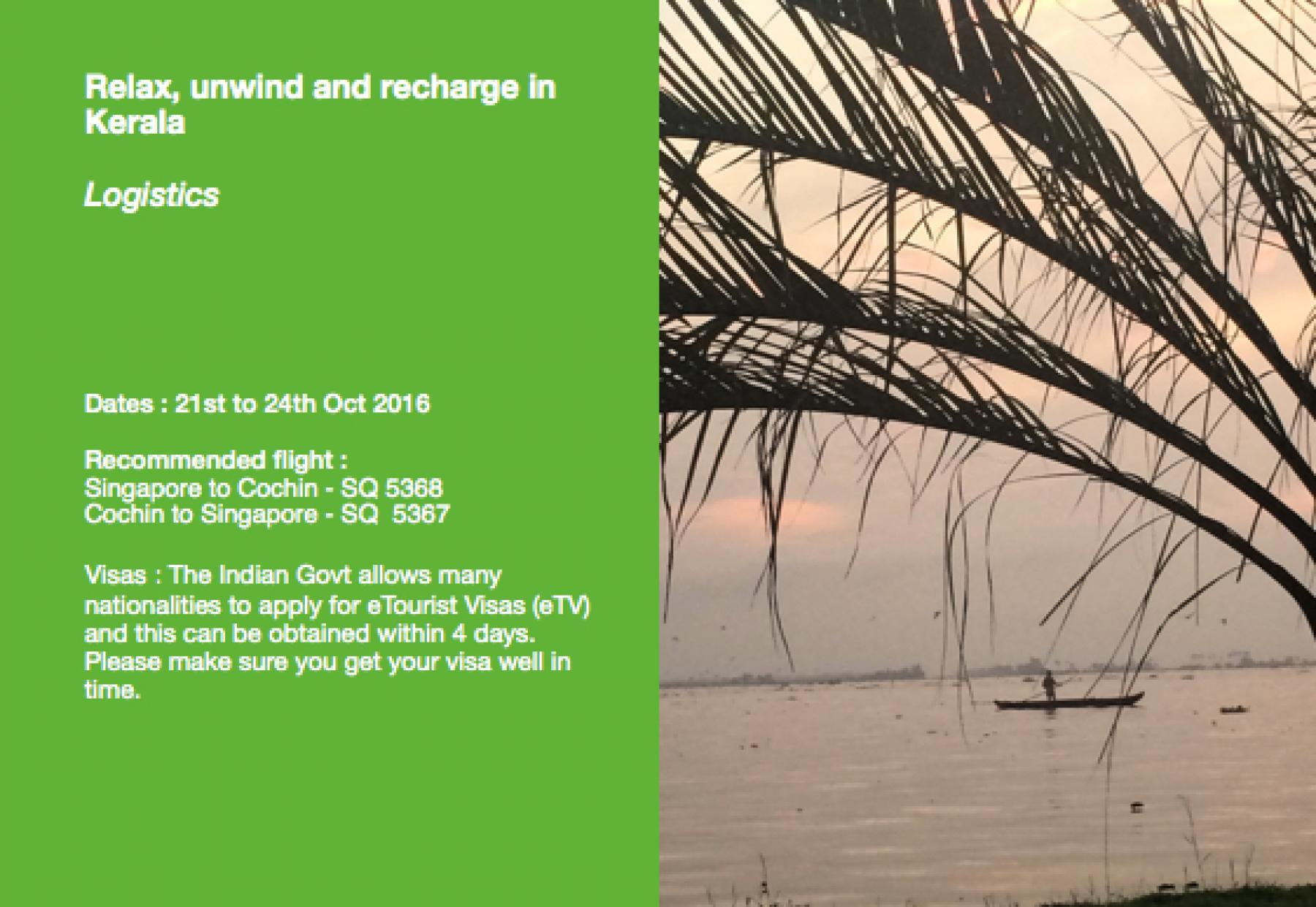 (Cancelled) Relax, unwind and recharge in beautiful Kerala  starting at Kerala, India