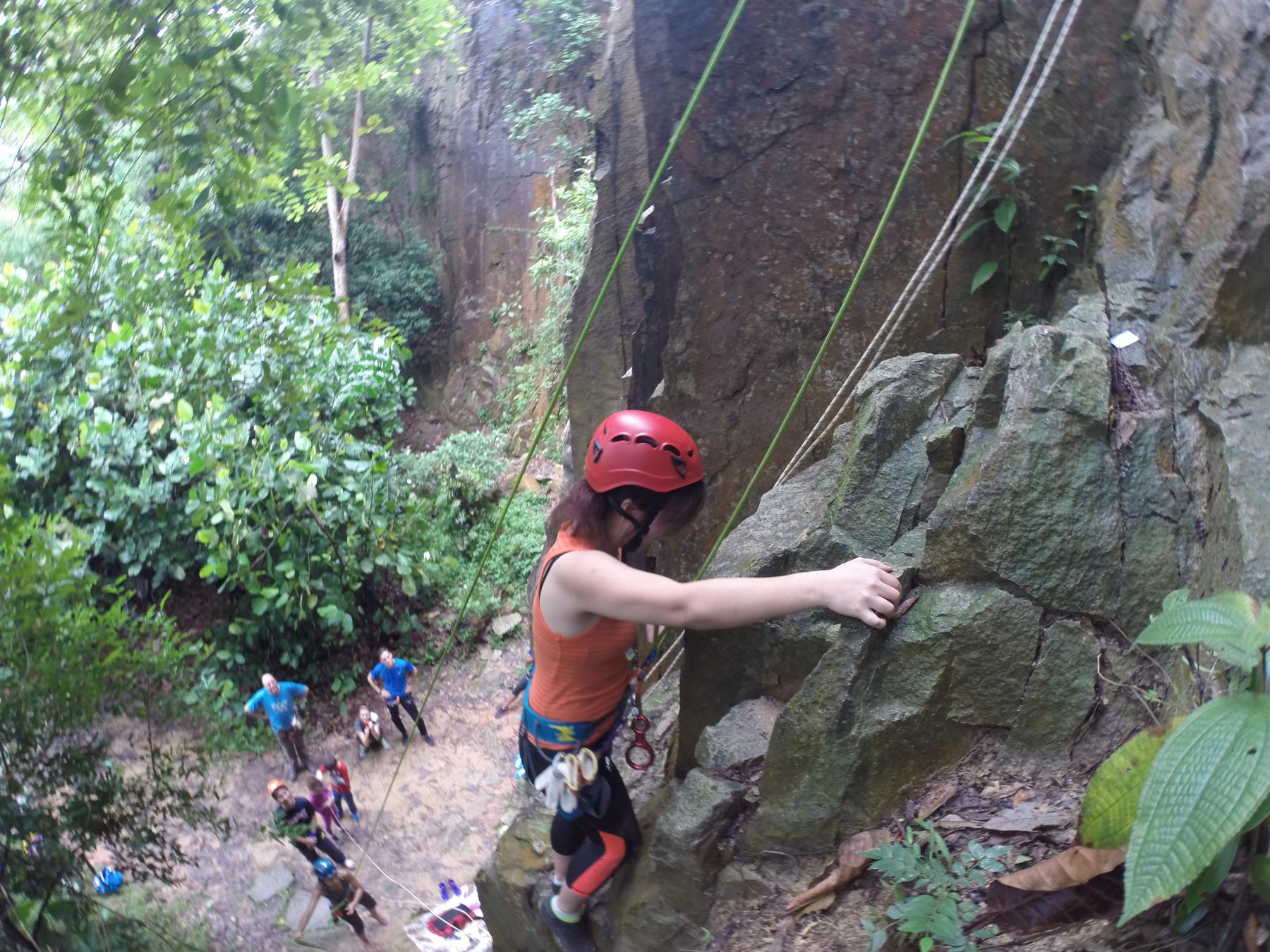 Natural Wall Rock Climbing and Abseiling starting at Dairy Farm Road Singapore